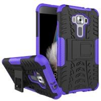 Противоударный двухкомпонентный силиконовый матовый непрозрачный чехол с поликарбонатными вставками экстрим защиты с встроенной ножкой-подставкой для Asus ZenFone 3 5.2  Фиолетовый