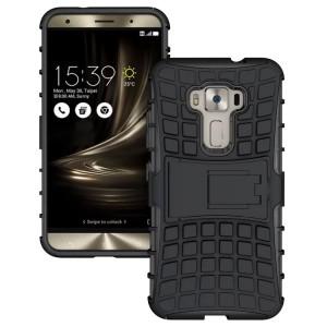 Противоударный двухкомпонентный силиконовый матовый непрозрачный чехол с поликарбонатными вставками экстрим защиты с встроенной ножкой-подставкой для Asus ZenFone 3 5.2  Черный