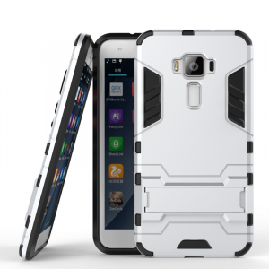 Противоударный двухкомпонентный силиконовый матовый непрозрачный чехол с поликарбонатными вставками экстрим защиты с встроенной ножкой-подставкой для Asus ZenFone 3 5.2 Белый