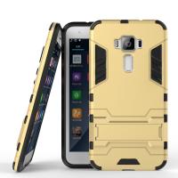 Противоударный двухкомпонентный силиконовый матовый непрозрачный чехол с поликарбонатными вставками экстрим защиты с встроенной ножкой-подставкой для Asus ZenFone 3 5.2 Бежевый