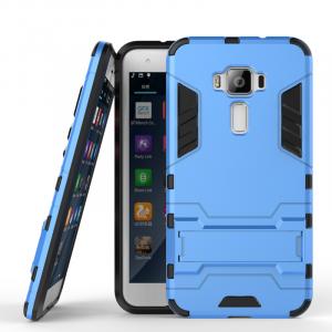 Противоударный двухкомпонентный силиконовый матовый непрозрачный чехол с поликарбонатными вставками экстрим защиты с встроенной ножкой-подставкой для Asus ZenFone 3 5.2 Голубой