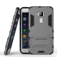 Противоударный двухкомпонентный силиконовый матовый непрозрачный чехол с поликарбонатными вставками экстрим защиты с встроенной ножкой-подставкой для Asus ZenFone 3 5.2 Серый