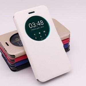 Чехол горизонтальная книжка подставка текстура Линии на силиконовой основе с окном вызова на магнитной защелке для Asus ZenFone 3 5.2  Белый