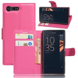 Чехол портмоне подставка на силиконовой основе на магнитной защелке для Sony Xperia X Compact  Пурпурный