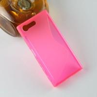 Силиконовый матовый полупрозрачный чехол с дизайнерской текстурой S для Sony Xperia X Compact  Розовый