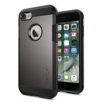 Противоударный двухкомпонентный силиконовый матовый непрозрачный чехол с поликарбонатными вставками экстрим защиты для Iphone 7 Серый