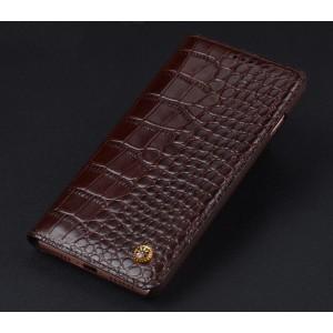 Кожаный чехол горизонтальная книжка (премиум нат. кожа крокодила) для Iphone 7/8 Коричневый