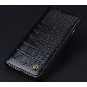 Кожаный чехол горизонтальная книжка (премиум нат. кожа крокодила) для Iphone 7/8 Черный