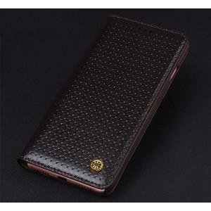 Кожаный чехол горизонтальная книжка (премиум нат. вощеная кожа) для Iphone 7/8 Коричневый