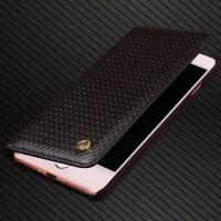 Кожаный чехол горизонтальная книжка (премиум нат. вощеная кожа) для Iphone 7  Черный