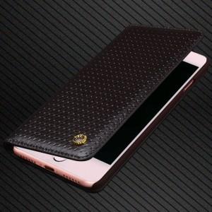 Кожаный чехол горизонтальная книжка (премиум нат. вощеная кожа) для Iphone 7/8 Черный