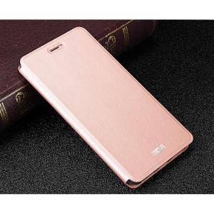 Чехол горизонтальная книжка подставка на силиконовой основе текстура Металлик для Meizu U20 Розовый