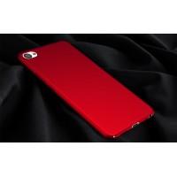 Пластиковый непрозрачный матовый чехол с допзащитой торцев для Meizu U20 Красный