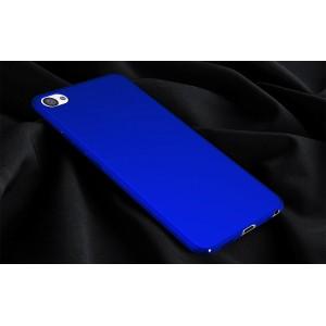 Пластиковый непрозрачный матовый чехол с допзащитой торцев для Meizu U20 Синий