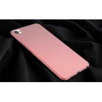 Пластиковый непрозрачный матовый чехол с допзащитой торцев для Meizu U20 Розовый
