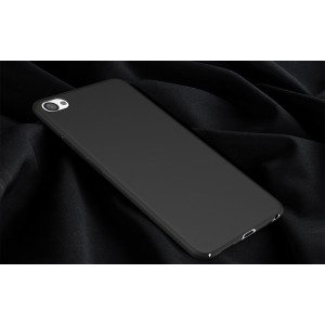 Пластиковый непрозрачный матовый чехол с допзащитой торцев для Meizu U20 Черный