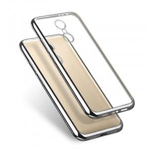Силиконовый глянцевый транспарентный чехол с текстурным покрытием Металлик для Xiaomi RedMi Note 4  Серый