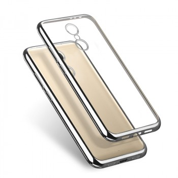 Силиконовый глянцевый полупрозрачный чехол с текстурным покрытием Металлик для Xiaomi RedMi Note 4 Серый