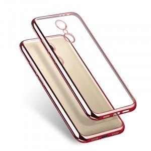Силиконовый глянцевый транспарентный чехол с текстурным покрытием Металлик для Xiaomi RedMi Note 4  Розовый