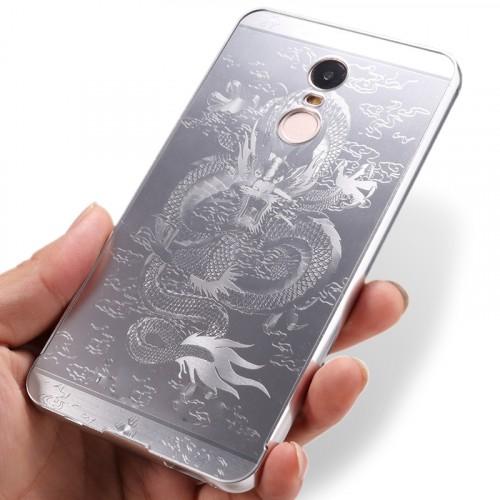 Двухкомпонентный чехол c металлическим бампером с поликарбонатной накладкой и текстурным покрытием Дракон для Xiaomi RedMi Note 4