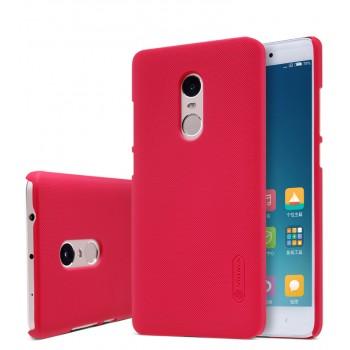 Пластиковый матовый нескользящий премиум непрозрачный чехол для Xiaomi RedMi Note 4 Красный