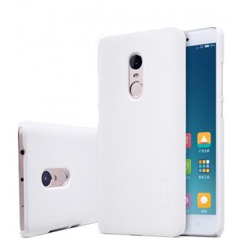 Пластиковый матовый нескользящий премиум непрозрачный чехол для Xiaomi RedMi Note 4 Белый