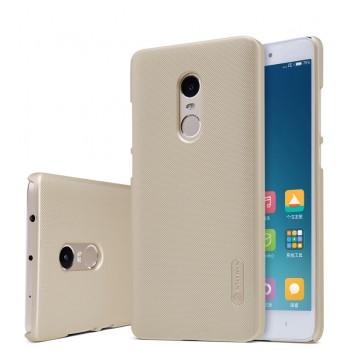 Пластиковый матовый нескользящий премиум непрозрачный чехол для Xiaomi RedMi Note 4 Бежевый