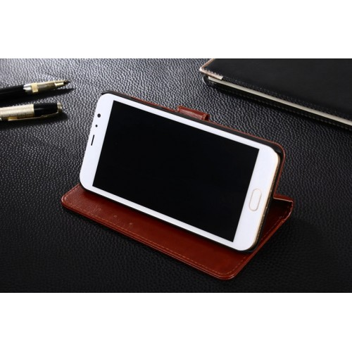 Глянцевый чехол портмоне подставка на магнитной защелке для Xiaomi RedMi Note 4 Черный