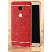 Силиконовый глянцевый непрозрачный чехол с текстурным покрытием Кожа для Xiaomi RedMi Note 4  Красный