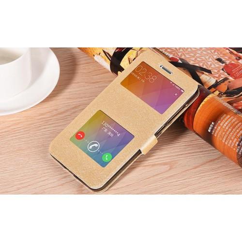 Чехол горизонтальная книжка подставка на силиконовой основе с окном вызова и свайпом на магнитной защелке для Xiaomi RedMi Note 4