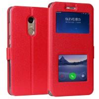 Чехол горизонтальная книжка подставка на силиконовой основе с окном вызова и свайпом на магнитной защелке для Xiaomi RedMi Note 4 Красный