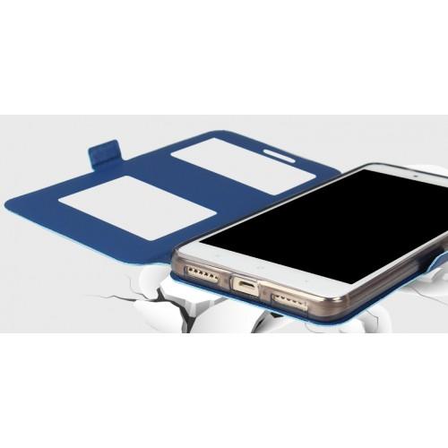 Чехол горизонтальная книжка подставка на силиконовой основе с окном вызова и свайпом на магнитной защелке для Xiaomi RedMi Note 4 Бежевый