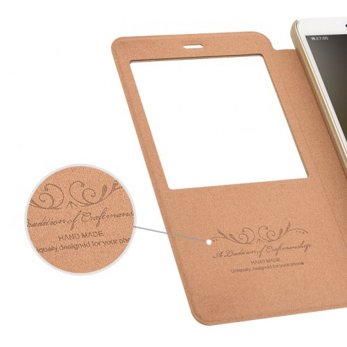 Чехол горизонтальная книжка подставка на пластиковой основе с окном вызова для Xiaomi RedMi Note 4