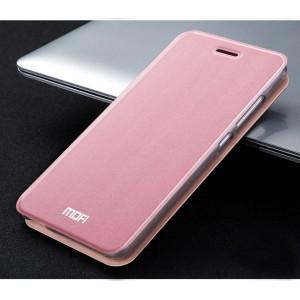Чехол горизонтальная книжка подставка текстура Металлик на силиконовой основе для Xiaomi RedMi Note 4  Розовый