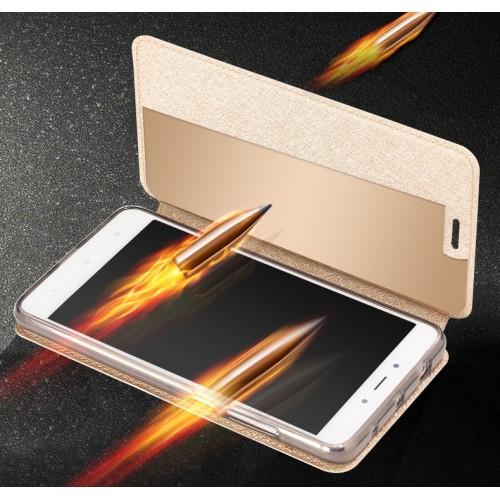 Чехол горизонтальная книжка подставка текстура Золото на силиконовой основе для Xiaomi RedMi Note 4