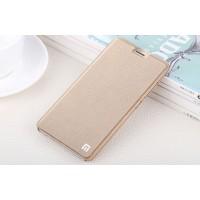 Чехол горизонтальная книжка подставка на пластиковой основе для Xiaomi RedMi Note 4 Бежевый