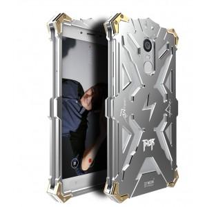 Цельнометаллический противоударный чехол из авиационного алюминия на винтах с мягкой внутренней защитной прослойкой для гаджета с прямым доступом к разъемам для Xiaomi RedMi Note 4  Серый