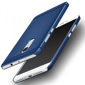 Пластиковый непрозрачный матовый металлик чехол для Xiaomi RedMi Note 4  Синий