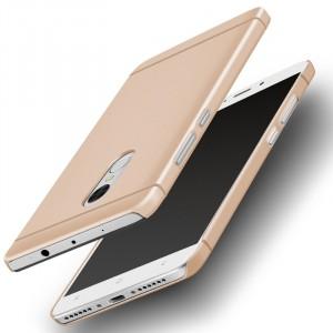 Пластиковый непрозрачный матовый металлик чехол для Xiaomi RedMi Note 4  Бежевый