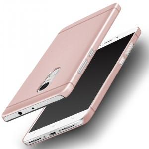 Пластиковый непрозрачный матовый металлик чехол для Xiaomi RedMi Note 4  Розовый