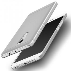 Пластиковый непрозрачный матовый металлик чехол для Xiaomi RedMi Note 4  Белый