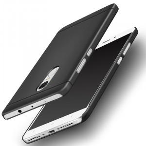 Пластиковый непрозрачный матовый металлик чехол для Xiaomi RedMi Note 4  Черный