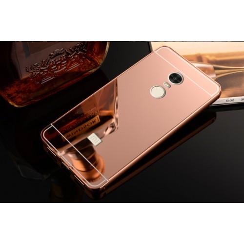 Двухкомпонентный чехол c металлическим бампером с поликарбонатной накладкой и зеркальным покрытием для Xiaomi RedMi Note 4 Черный