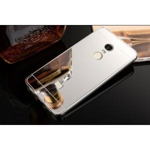 Двухкомпонентный чехол c металлическим бампером с поликарбонатной накладкой и зеркальным покрытием для Xiaomi RedMi Note 4 Белый