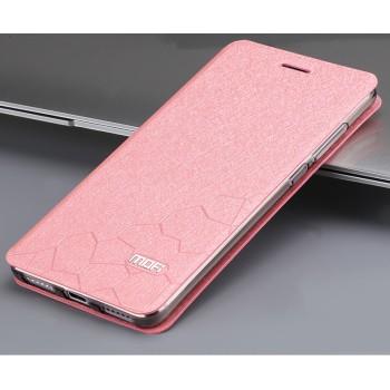 Чехол флип подставка текстура Соты на силиконовой основе для Xiaomi RedMi Note 4 Розовый