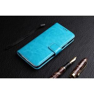 Винтажный чехол портмоне подставка на силиконовой основе на магнитной защелке для ZTE Blade A610  Голубой