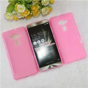Силиконовый матовый полупрозрачный чехол для Asus ZenFone 3 Deluxe Розовый