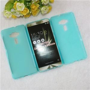 Силиконовый матовый полупрозрачный чехол для Asus ZenFone 3 Deluxe Голубой