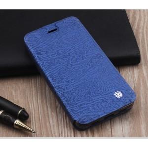 Чехол горизонтальная книжка подставка текстура Дерево на силиконовой основе для ZTE Blade A610  Синий