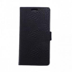 Чехол портмоне подставка текстура Крокодил на силиконовой основе на магнитной защелке для LG K7